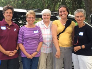 Benedictines getting ready for the drive back to Erie after the Interfaith Moral Advocacy Training in Harrisburg in August 2015.