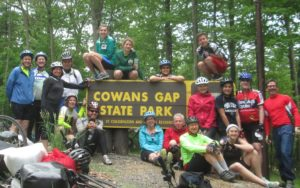 Cowans Gap state park sign bike 2017