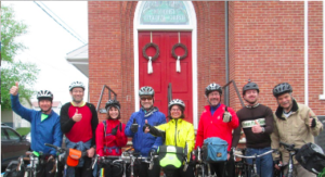 Cyclists at church
